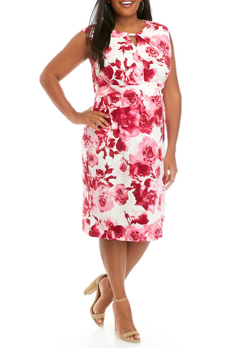 Plus Size Floral Pleat Neck Dress