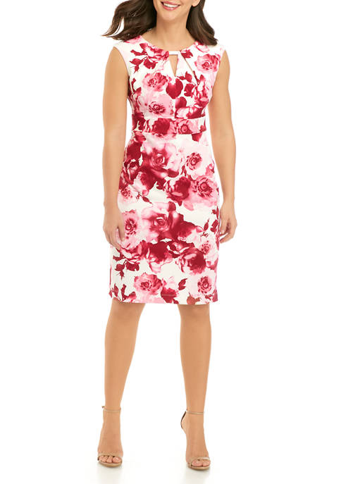 Gabby Skye Womens Floral Pleat Neck Sheath Dress