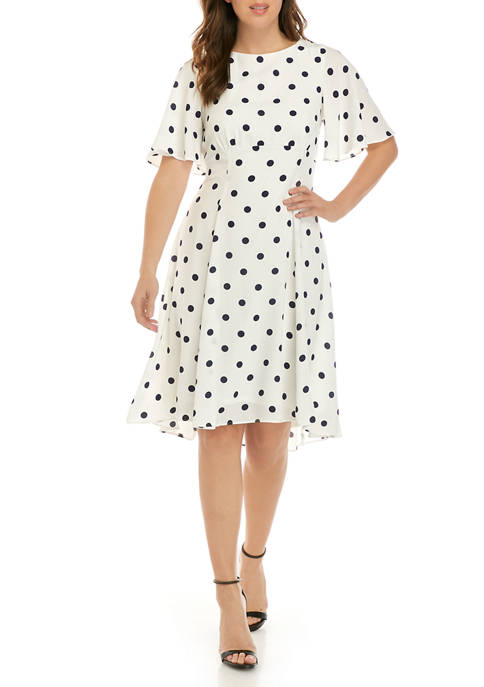 Gabby Skye Womens Flutter Sleeve Polka Dot Dress