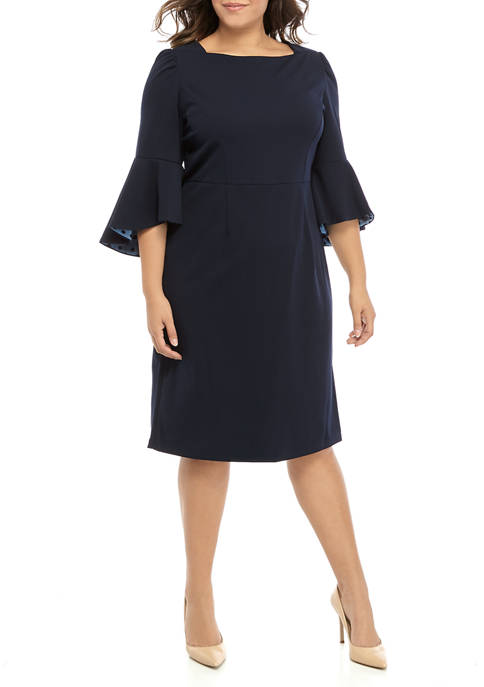 Plus Size 3/4 Bell Sleeve Inner Beauty Crepe Dress