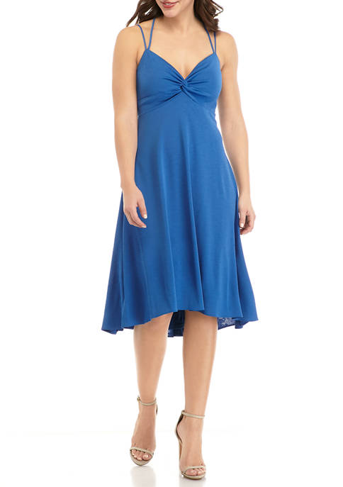 Womens Sleeveless Knot Front A Line Dress