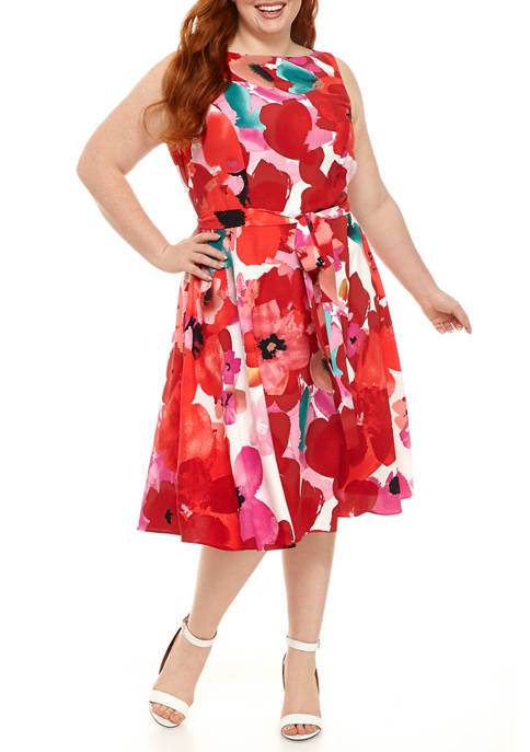 Plus Size Sleeveless Large Floral Dress
