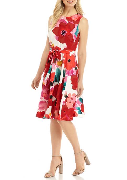 Womens Sleeveless Large Floral Dress