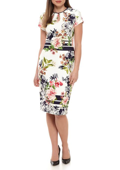 Womens Cutout Floral Sheath Dress