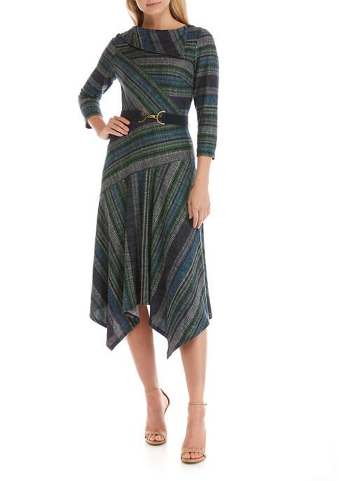 Gabby Skye Womens Mixed Stripe Belted Midi Dress