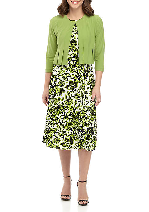 Julian Taylor ITY Solid Jacket With Printed Dress