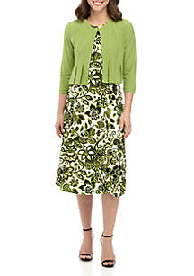 Julian Taylor Solid Jacket With Printed Dress