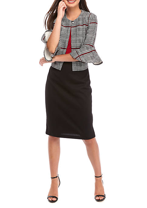 Danny & Nicole Womens Glen Plaid Jacket Dress