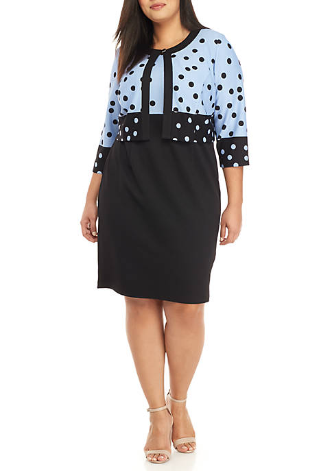 Plus Size 2-Piece Polka Dress and Jacket Set