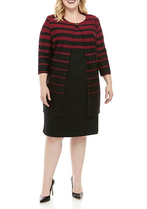 Plus Size Striped Jacket Dress