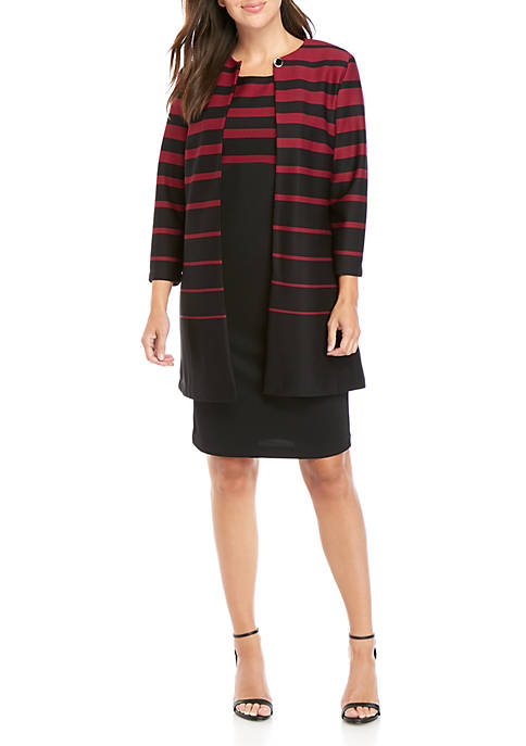 Danny & Nicole Womens Striped Taper Jacket Dress