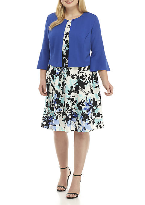 Plus Size 2-Piece Bell Sleeve Jacket Dress