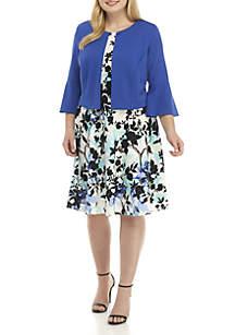 Plus Size 2-Piece Bell Sleeve Jacket Dress