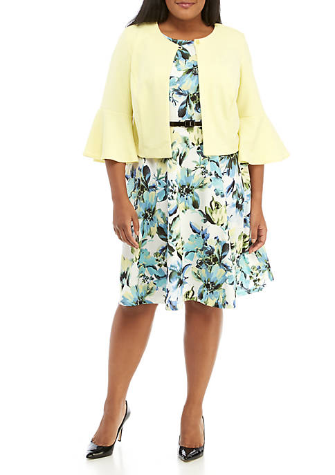 Plus Size 2-Piece 3/4 Bell Sleeve Jacket and Dress Set