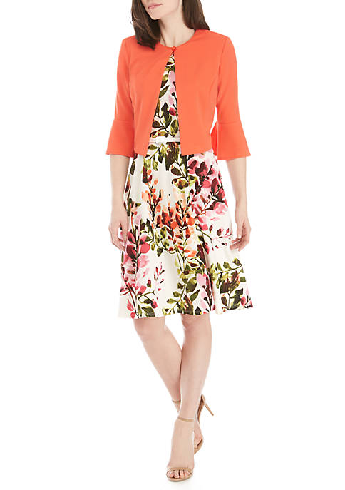 2 Piece Bell Sleeve Jacket and Floral Dress