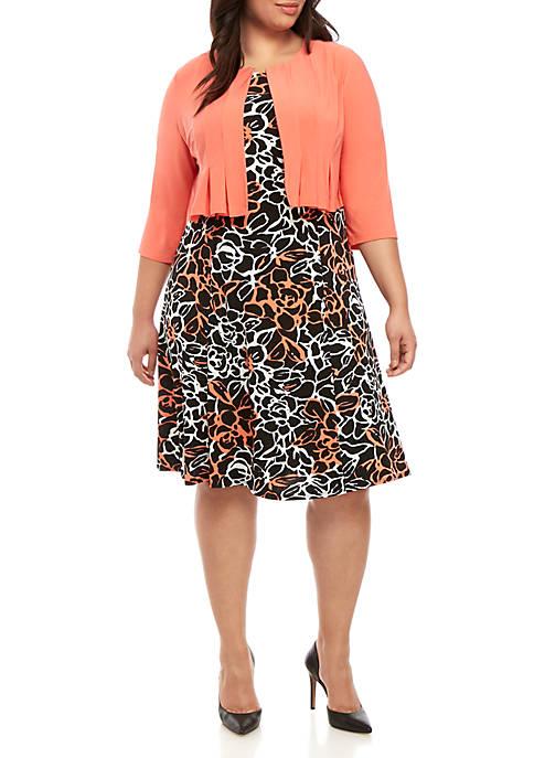 Plus Size Jacket and Rose Print Dress