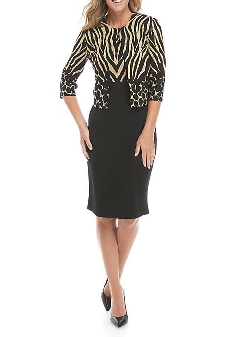 Textured Knit Print Jacket Dress Set
