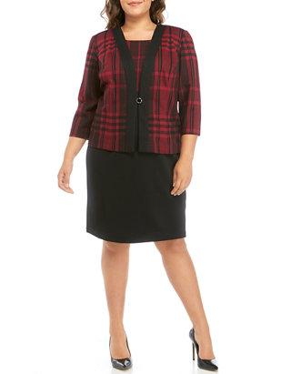 Plus Size Plaid Color Block Dress Suit