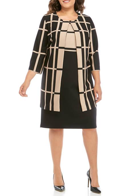 Plus Size Plaid Long Jacket with Color Block Dress
