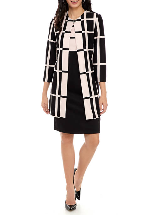 Danny & Nicole Long Print Textured Knit Jacket