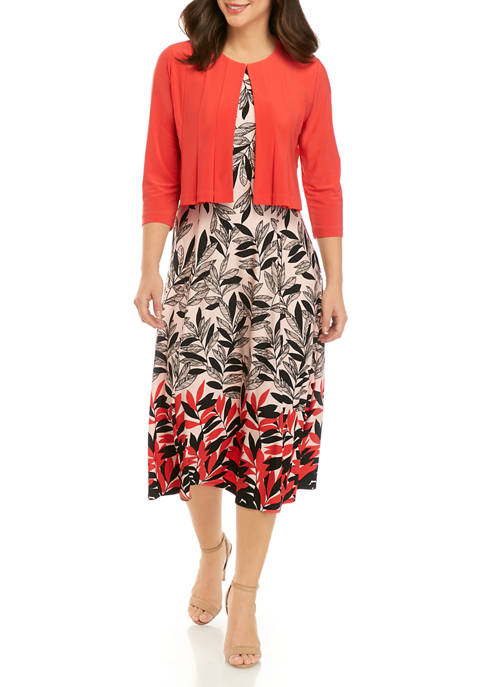 Danny & Nicole Womens Soft Jacket Floral Midi