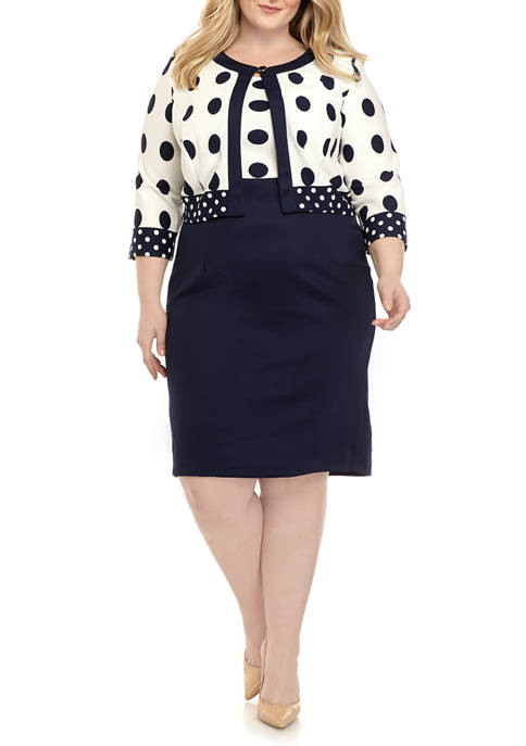 Danny & Nicole Plus Size Dot Jacket and