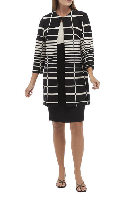 Womens 3/4 Sleeve Striped Long Jacket and Color Block Dress Set