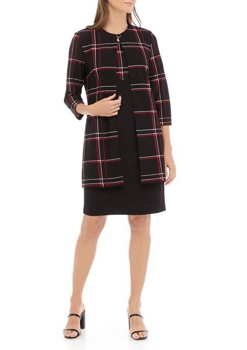 Womens Plaid Midi Length Jacket Dress