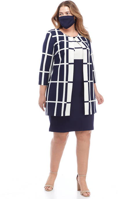 Danny & Nicole Plus Size Grid Long Jacket