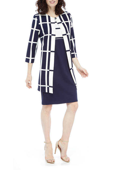 Danny & Nicole Womens Grid Long Jacket Colorblock