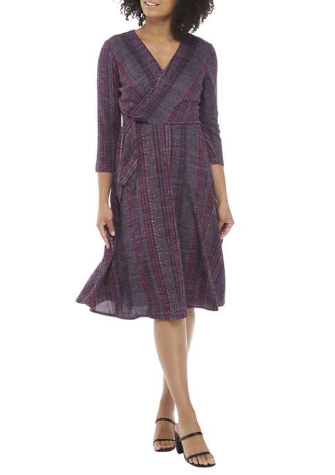 Julian Taylor Womens 3/4 Sleeve Striped Surplice Midi