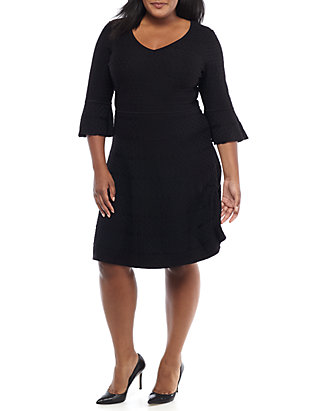 7631a1783be6 Gabby Skye. Gabby Skye Plus Size Bell-Sleeve Fit-and-Flare Sweater Dress