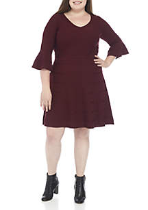 Plus Size Bell-Sleeve Fit-and-Flare Sweater Dress