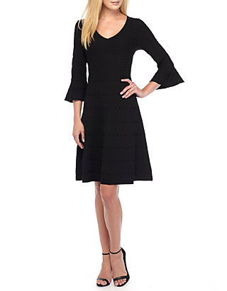 1d3bc5041021 Gabby Skye. Gabby Skye Bell-Sleeve Fit and Flare Sweater Dress