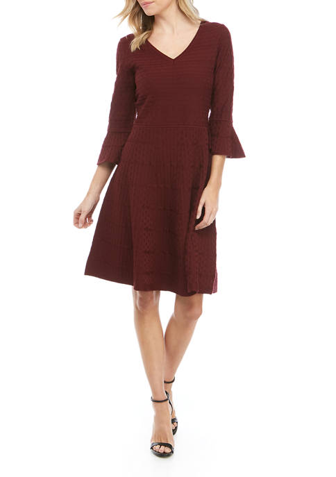 Gabby Skye Bell-Sleeve Fit and Flare Sweater Dress