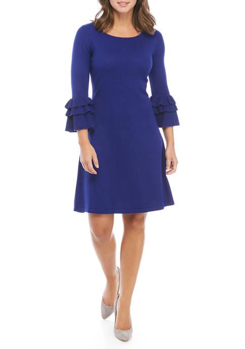 Gabby Skye Cha-Cha Ruffle Sleeve Sweater Dress