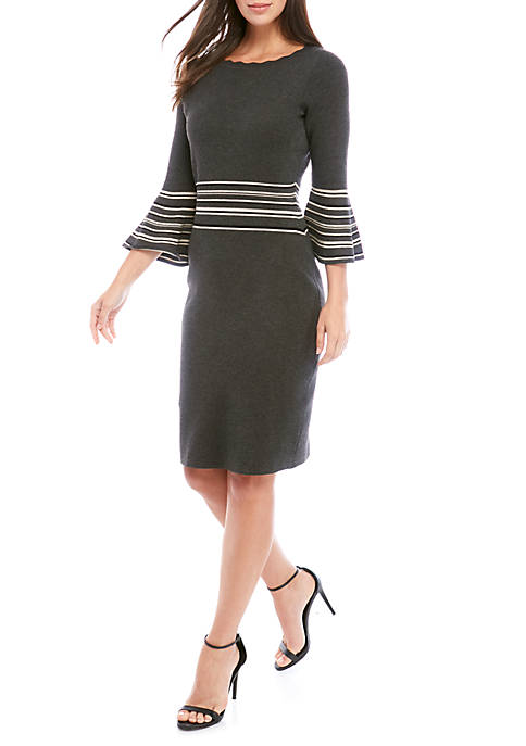 Gabby Skye Bell Sleeve Stripe Trim Sweater Dress