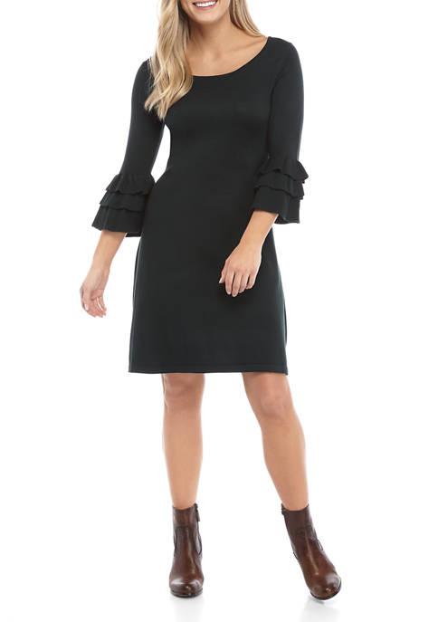 Womens Ruffle Sleeve Sweater Dress
