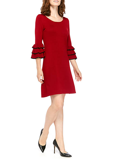 Gabby Skye Womens Tipped Cha Cha Sweater Dress