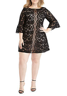 Danny & Nicole Plus Size Bell Sleeve Lace Dress