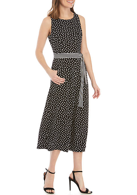 Gabby Skye Sleeveless Dot with Stripes Belted Jumpsuit