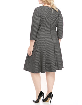 Plus Size Jacquard Fit and Flare Dress