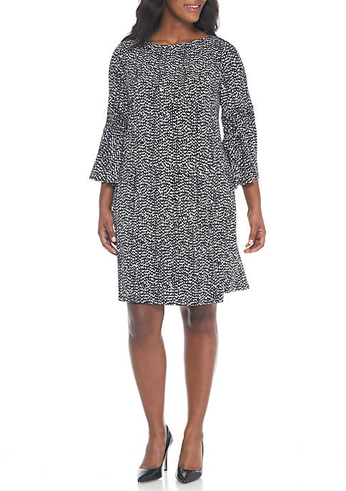 Julian Taylor Plus Size Flare Sleeve Printed Sheath