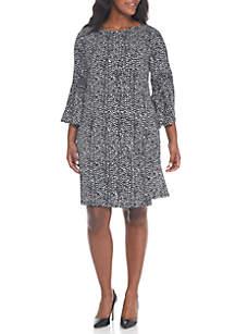 Plus Size Flare Sleeve Printed Sheath Dress
