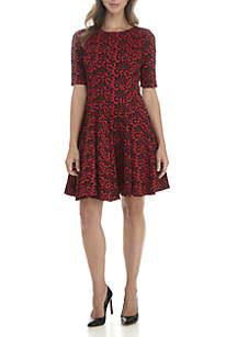Elbow Sleeve Puff Jacquard Dress