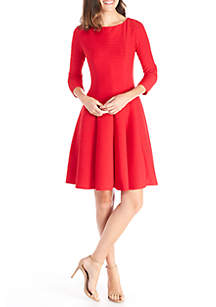 3/4 Sleeve Ribbed Knit Dress