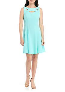 Gabby Skye Sleeveless Cutout Textured Knit Dress