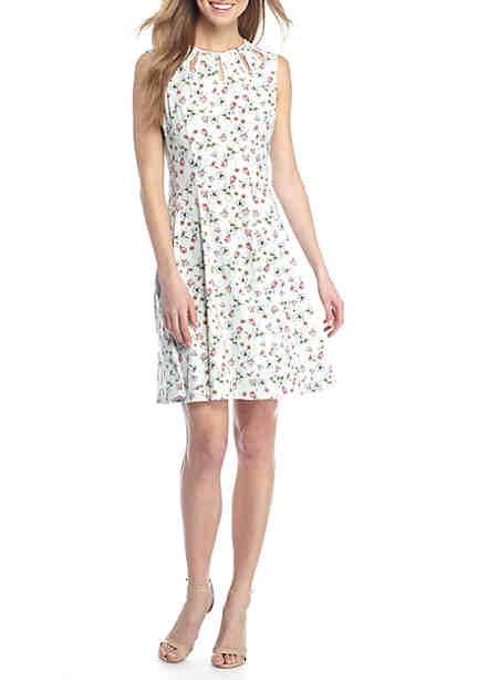 Gabby Skye Ditsy Floral Print Fit-and-Flare Dress ...