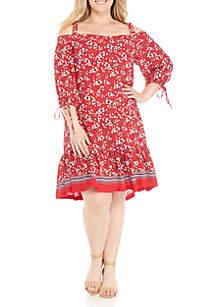 Plus Size Cold Shoulder Drop Waist Dress