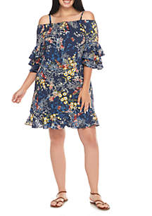 Plus Size Off The Shoulder Print with Tiered Sleeve Dress